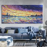Peinture à l'huile Colorful Sunrise avec cadre