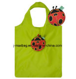 Shopping pliable cadeau promotionnel nylon polyester avec pochette 3D, l'Animal Style Ladybird, réutilisable, léger, épicerie et de la portée de main, cadeaux, des sacs fourre-tout