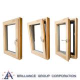 Australia Europa el lujo de inclinación y giro de aluminio ventanas de madera