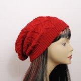 Womens Automne Hiver Slouchy tricotés les capuchons de croisillon câble torsadé tressé Beanie Hat (HW105)