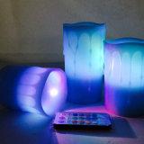 Pilar Velas LED azul sin flama con temporizador y a distancia con llave de 18