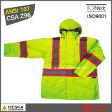 Оптовая торговля высокая видимость водонепроницаемая куртка с PU покрытие водонепроницаемым в 2000мм