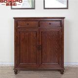 Cabinet de chaussure en bois de chêne massif fait sur commande antique (GSP16-001)