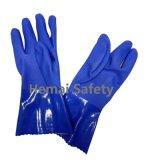 Double Feux de PVC bleu des gants de la sécurité chimique