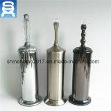 Support de balai de Toliet en métal de couleur du corps rond 3 de chrome de Nikel de satin