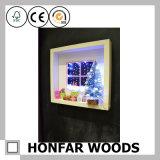 Frame de retrato de madeira da caixa de sombra da cor branca para o presente do Natal