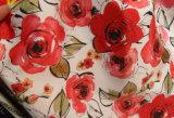 Impresión de tela de satén de poli para el vestido de las mujeres