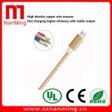 Cavo di dati di nylon ad alta velocità della trasmissione della carica del USB del telefono del connettore della lega