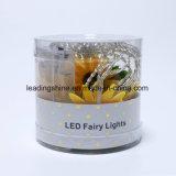 10 encender para arriba la cadena ligera no tejida accionada AA clara del alambre de las luces estrelladas del girasol LED