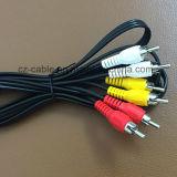 3RCA/3r Plug/Jack 3RCA/3r Plug/Jack para audio/AV/TV/DVD/Cable de los medios de comunicación (3R-3R)