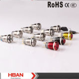 12 interruttore di pulsante illuminato LED momentaneo 19mm superiore dell'acciaio inossidabile di verde di volt 1no con il connettore