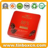 Contenitore quadrato di cioccolato dello stagno del metallo con il coperchio chiuso ermeticamente, contenitore di alimento