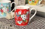 Caneca de café creativa por atacado da porcelana do projeto 12oz com projeto da flor
