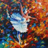 أسلوب [هندمد] تجريديّ جميل راقص [أيل بينتينغ] لأنّ يعيش غرفة
