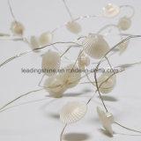 電池式銀製ワイヤー硬貨の屋外の庭装飾的なLEDの海のシェルの豆電球