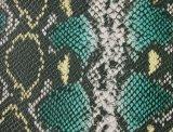 Couro de imitação gravado durável do PVC da serpente para o saco (A860)