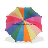 يدويّة يطوي مظلة, قوس قزح زاهية في مطر يوم