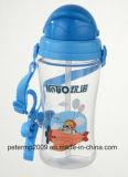 450ml Plasitc Sport-Flasche scherzt Wasser-Flasche mit Stroh, blaue Farben-Wasser-Flasche