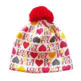 Chapéu feito malha flangeando com Pompon (JRK022)