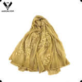 2016 New Design Leaf Branch Bordado 100% Silk Crinkle Scarf