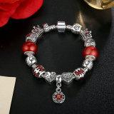 Pingente De Flor Antiga & Red Beads, Star Crown Charms Braceletes Jóias
