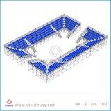 引き込み式の屋内観覧席の競技場の観覧席のシートは観覧席を使用した