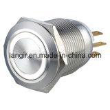 19mm momentanés étanches 1no1NC LED JAUNE Interrupteur à bouton poussoir métallique