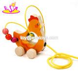 Neue heißeste Karikatur-hölzernes Huhn-Zug-Spielzeug für Babys W05b162