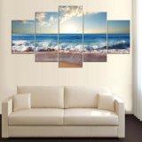 5 paneles agua de mar azul imagen moderna decoración de la pared de impresión de la lona del aceite Pintura Lienzo Mc-163
