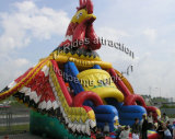スライドが付いている雄ん鶏の多彩で膨脹可能な城