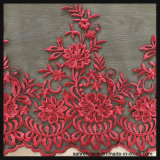 黒い地上の網の刺繍のレースの花のテュルのレース