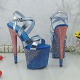 Вечер моды Leecabe обувь новые вечер Crystal Clear высокие сандалии полюс танцевальная обувь