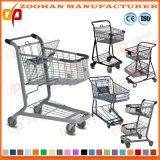 Grand chariot gris à achats de mémoire de caddie de supermarché de capacité (Zht96)