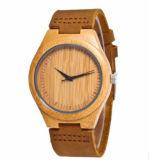 나무로 되는 물자 케이스 PU 가죽 현대 손목 시계 (DC-035)