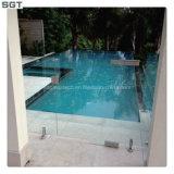 piscina Tempered del hierro de 12m m del flotador inferior del claro que cerca el vidrio de la barandilla