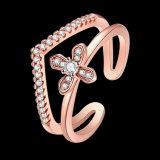 L'oro della Rosa ha placcato i monili aperti di modo dell'anello di Zirconia cubico trasversale