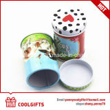 Rectángulo chino redondo del estaño del té verde del regalo de la Navidad con la tapa doble
