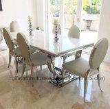 現代贅沢なクロム性質の大理石の上のAriannaのダイニングテーブルそして革張りのいす