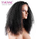 Malaysian rizado cabello virgen delantera de encaje peluca peluca cabello humano.