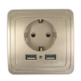 2A 포트를 가진 벽 전원 소켓 16A EU 표준 출구는 이동할 수 있는 백색 은 금 3 색깔을%s USB 충전기 이중으로 한다