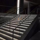 Le bâtiment commercial rampe escalier conduit u une balustrade en verre de canal