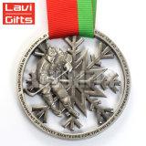Prix de Noël personnalisé gravé du logo Sport en alliage de zinc métal or Award Medaling