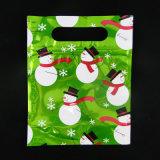 Trou fait sur commande de main de sac d'empaquetage en plastique de cadeau d'impression de modèle de logo
