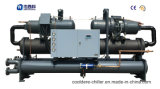 Refrigerador doble semihermético del tornillo del agua del compresor