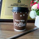 Устранимым гофрированная бумага OEM горячим изолированная кофеим придает форму чашки крышки