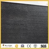 安いインク黒の大理石か黒い石の革表面インク黒の大理石の平板