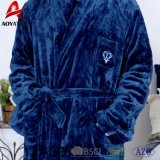 Cheap flanelle doux solide Fleece hommes peignoir de bain Vêtements de nuit