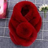 Sciarpa dello scialle lavorata a maglia Fur della signora Fashion Cotton Polyester
