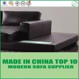 Modernos de madera en forma de U sofá de cuero Home mobiliario con luz LED