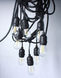 Теплый белый S14 E26/E27 светодиодные лампы Глоб String лампы пальчикового типа Группа Ярко раскрашенные деревянные лампы освещения строка для праздников, свадеб, сторона декоративную подсветку для наружного освещения